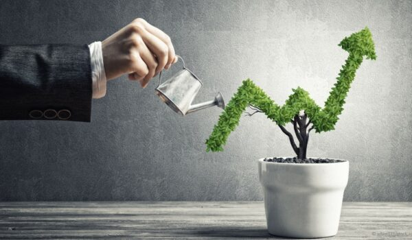 businessman watering tree showing financial growth