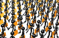 Stick Figure Businessmen Marching