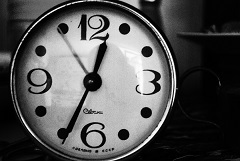 Black And White Picture Of A Clock