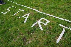 Starting Line On Grass Lawn
