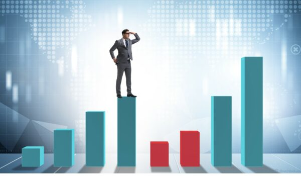 business on a financial chart forecasting future